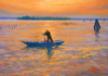 Pastel Painting of Burano Rower by John Hulsey
