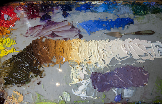 Palette for Oil Painting of Gore Creek by John Hulsey
