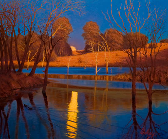 oil painting of moon reflected in pond at sunset