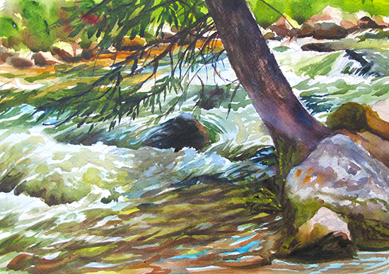 Plein air watercolor painting of Gore Creek