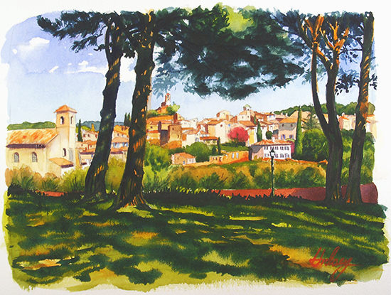 Watercolor Painting of Lourmarin, France by John Hulsey