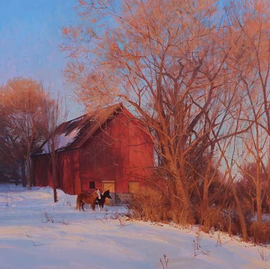 Oil painting of barn and horses in winter by Michael Albrechtsen