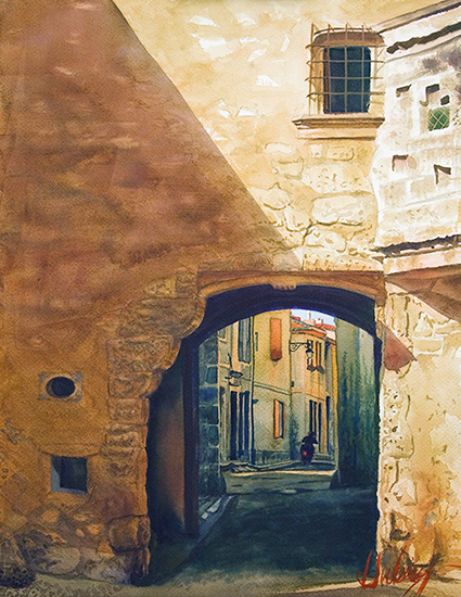 "The Old Gate at Arles, 12 x 16"", WC, © John Hulsey"