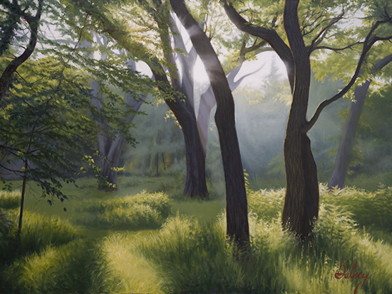 oil painting of sunlight, trees and meadow, by John Hulsey