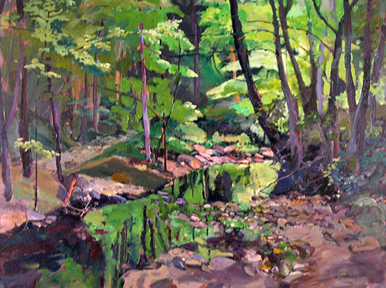 arylic painting of forest and creek, by Annie Helmricks Louder