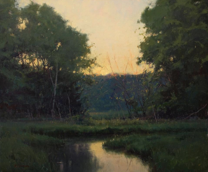 oil painting of meadow and stream at sunset, by Marc Hanson