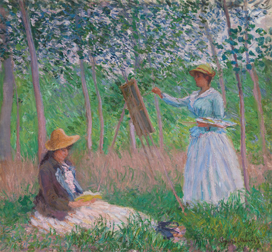 In the Woods at Giverny Blanche Hoschede at her Easel with Suzanne Hoschede Reading, 1887, Claude Monet