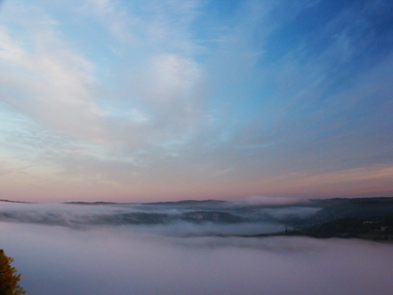 Photo of Fog at Sunrive over the Dordogne River Valley, France, by John Hulsey
