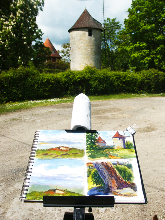 Photograph of watercolor plein air setup in Domme France by John Hulsey