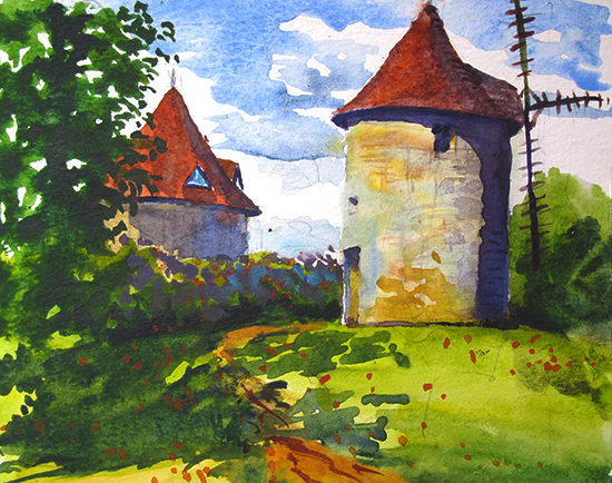 Watercolor painting of old windmill, Domme, France, by John Hulsey