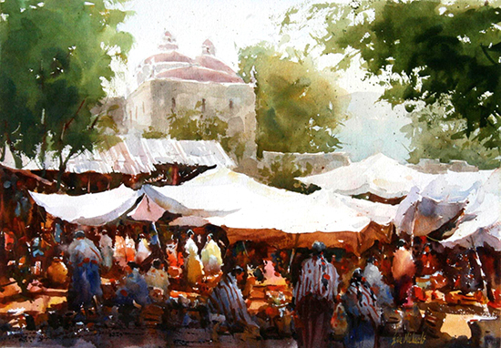 "El Mercado, Etla, Mexico, 15 x 22"" WC, © Eric Michaels"