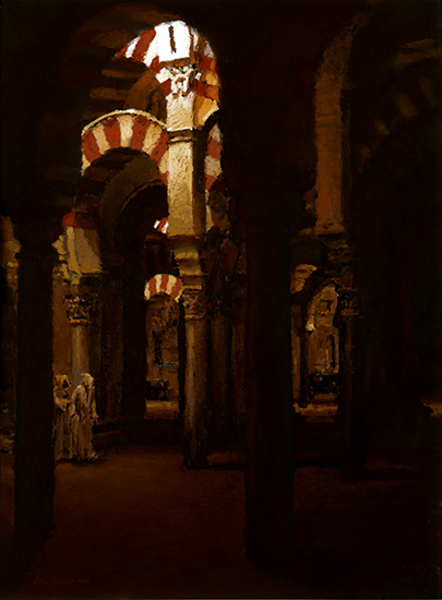 "In the Great Mosque, Cordoba, Spain 24 x 18"", Pastel, © Eric Michaels"