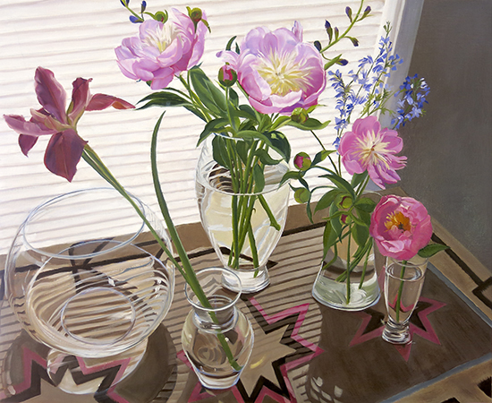 oil painting of flowers in glass vases by Ann Trusty
