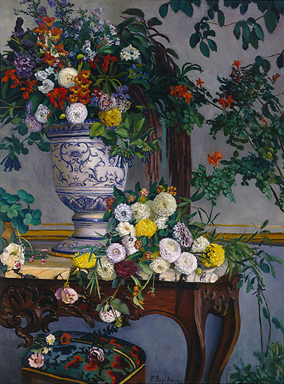 oil painting of flowers on a table by Frederic Bazille