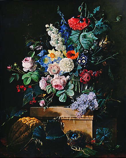 oil painting of flowers by Redoute