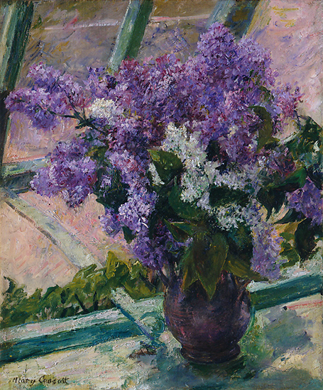 oil painting of Lilacs in a window, by Mary Cassatt
