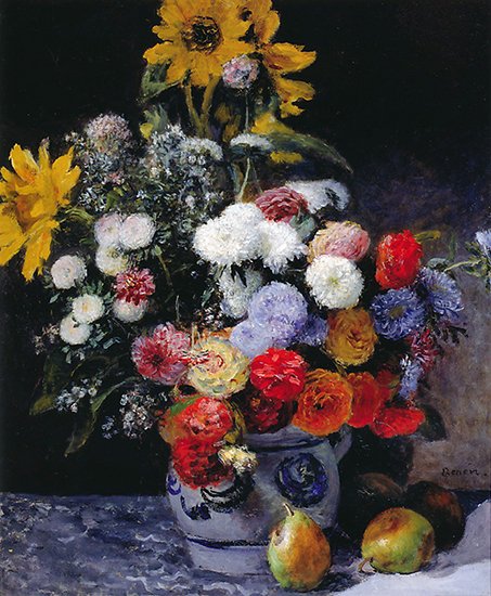 oil painting of flowers in a pot by Pierre Auguste Renoir