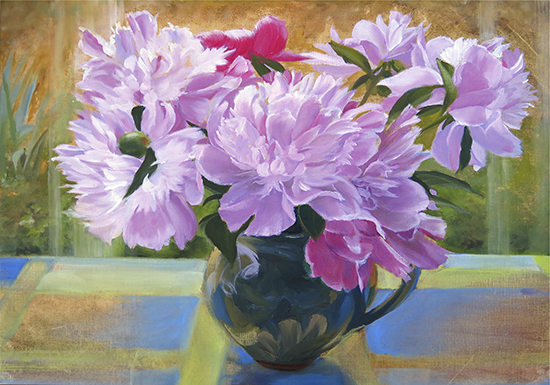 oil painting of peonies in Provencal vase by Ann Trusty
