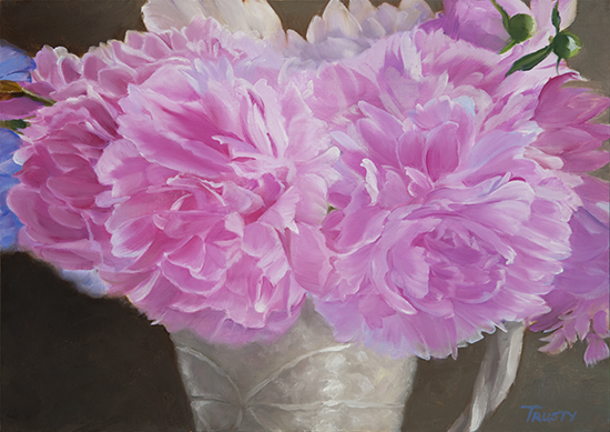 oil painting of peonies in a vase, by Ann Trusty