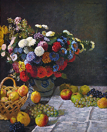 oil painting of flowers by Claude Monet