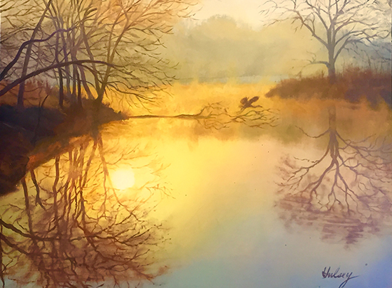 Foggy Pond, 9 x 12', Oil, © John Hulsey