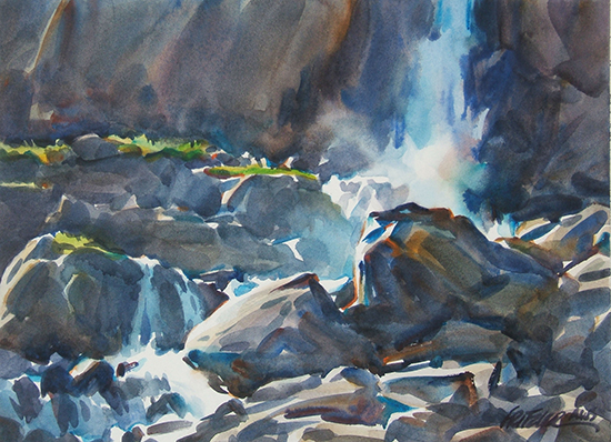 watercolor painting of mountain waterfall, Below the Falls, © Gerald Fritzler