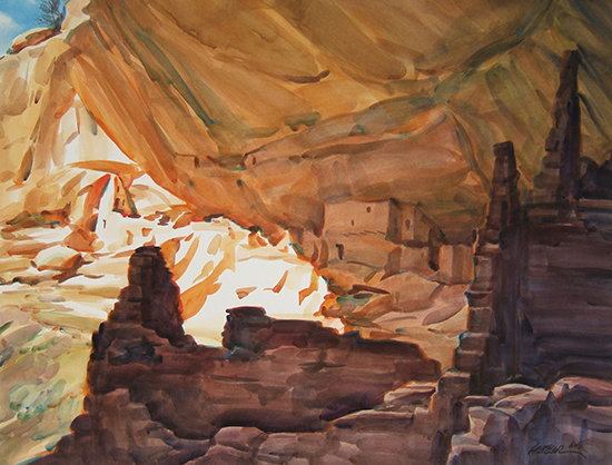 watercolor paintiing of Canyon de Chelly, by Gerald Fritzler