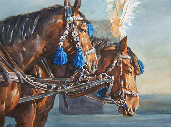 watercolor painting of horses and silver bridles by Gerald Fritzler