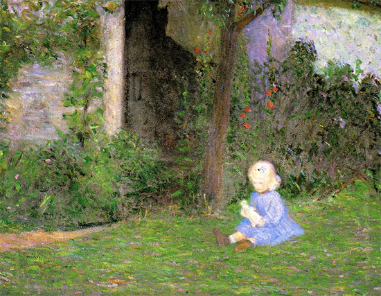 Child in a Walled Garden Giverny, painting by Lilla Cabot Perry