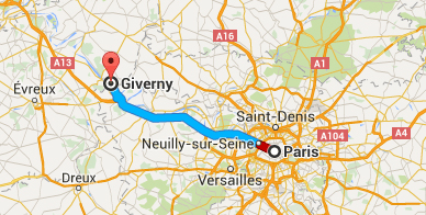 Map of Route from Paris to Giverny