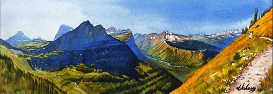 Watercolor painting of Glacier National Park, by John Hulsey