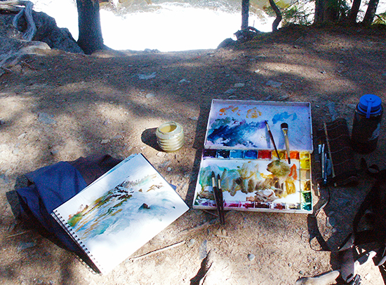 photo of John Hulsey's painting gear, Glacier National Park