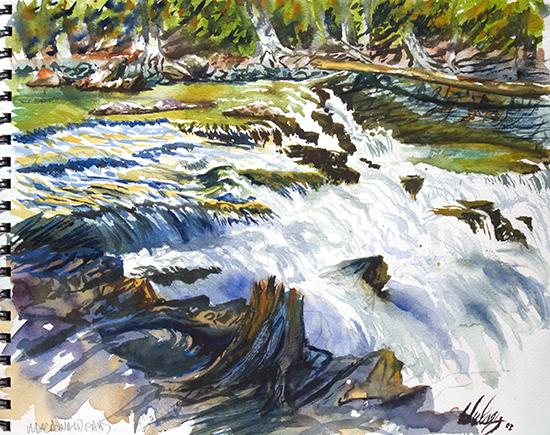watercolor painting of MacDonald Falls, Glacier National Park, by John Hulsey