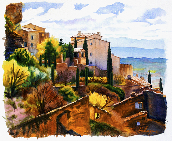 watercolor of Gordes, Provence © by John Hulsey