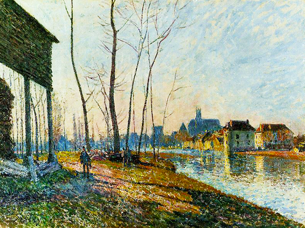 Oil landscape impressionist painting of man walking along a river bank A February Morning at Moret sur Loing Alfred Sisley 1881