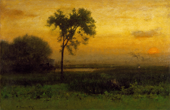 Tonalist sunrise landscape oil painting by George Inness