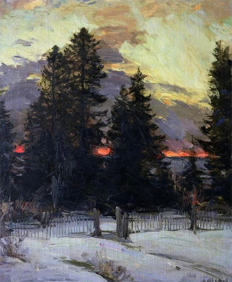 Oil painting of Sunset Over a Winter Landscape, ca. 1902, Abram Arkhipov