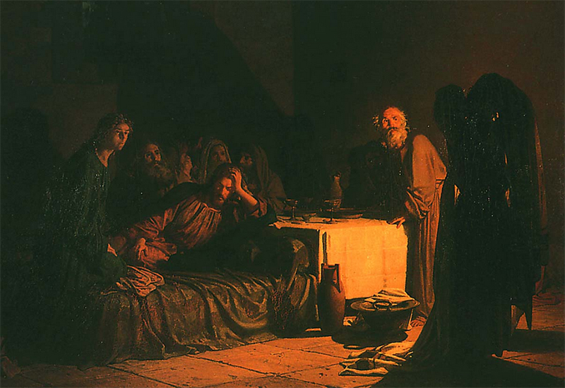 oil painting of the Last Supper, by Nikolai Ge, 1863