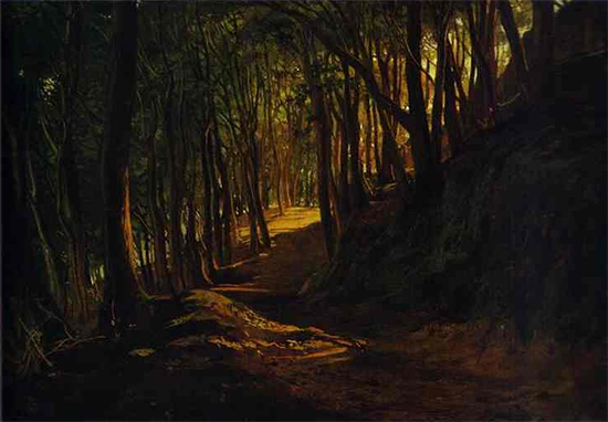 Oil painting of a Dark Forest Road, by Nikolai Ge