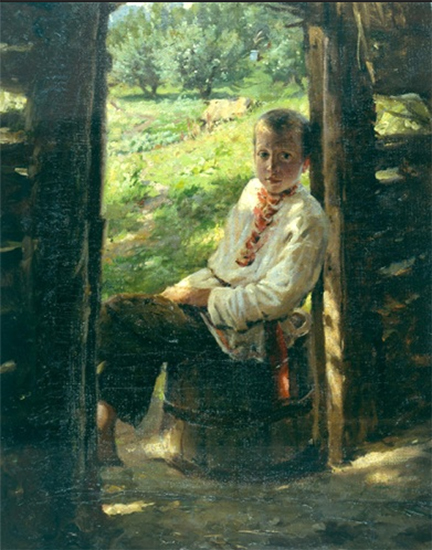 oil painting of a Ukrainian boy outside, by Nikolai Ge