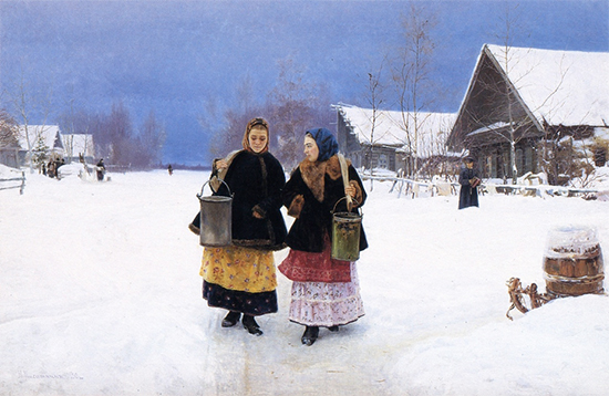oil painting of Russian children in winter landscape, Rivals, 1890, by Nikolay Kasatkin
