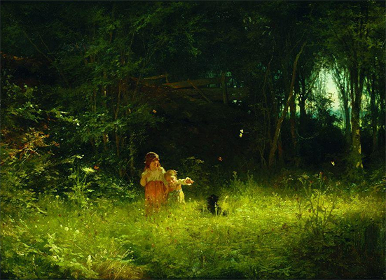 Oil Painting of Children in the Forest, 1887, by Ivan Kramskoi