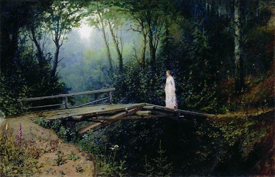 Oil Painting of a Bridge in the Woods, 1885-86. Rafail Levitsky