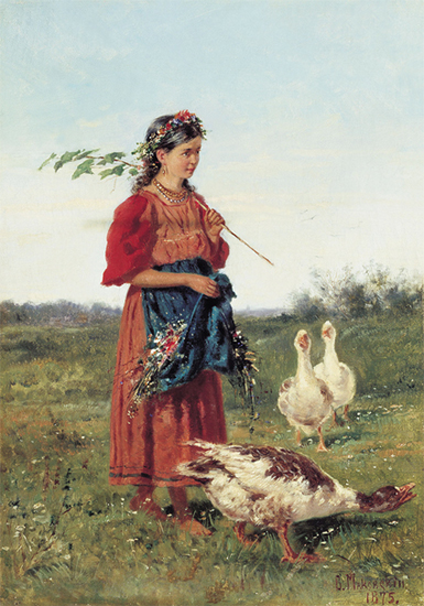 Painting of a Russian Child with Goose, 1875, Vladimir Makovsky