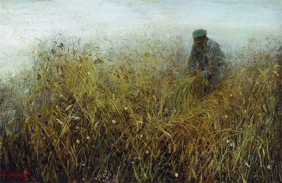 Painting of a Russian Man in the Rye Field 1903 Vassily Maximov