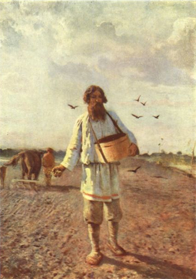 Painting of a Russian Farmer Sowing Seed 1888 Myasoyedov