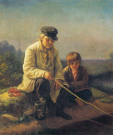 Painting of a Man and a Boy Fishing by Vasily Perov
