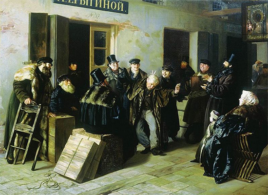 A Painting of Men Taunting Another Man, Jokers, 1865, Pryanishnikov