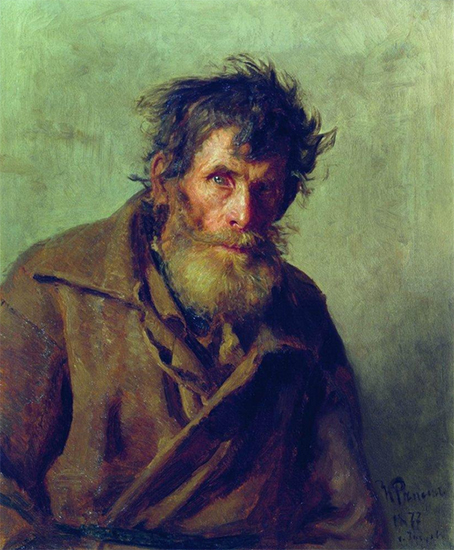 Painting of a Shy Peasant 1877 Ilya Repin