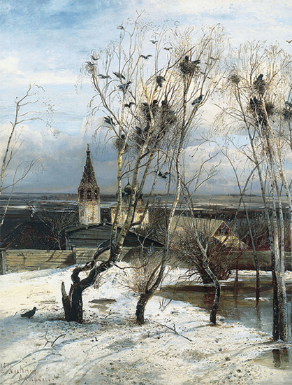 A Painting titled The Rooks Have Come Back, 1871, Savrasov